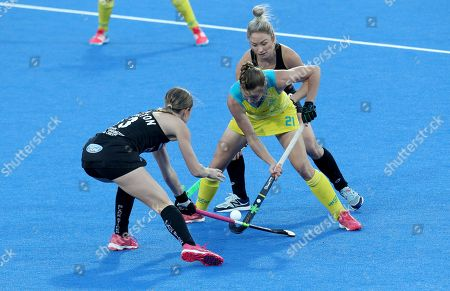 Australia's Renee Taylor (C) during the women's Field Hockey World Cup match between Australia and New Zealand at the Lee Valley Hockey Centre, Queen Elizabeth Olympic Park in London, Britain, 28 July 2018