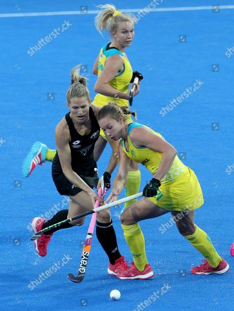 Australia's Renee Taylor (R) during the women's Field Hockey World Cup match between Australia and New Zealand at the Lee Valley Hockey Centre, Queen Elizabeth Olympic Park in London, Britain, 28 July 2018.