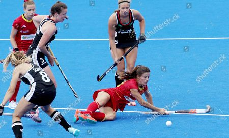 Spain's Lucia Jimenez (R) in action during the women's Field Hockey World Cup match between Spain and Germay at the Lee Valley Hockey Centre, Queen Elizabeth Olympic Park in London, Britain, 28 July 2018.