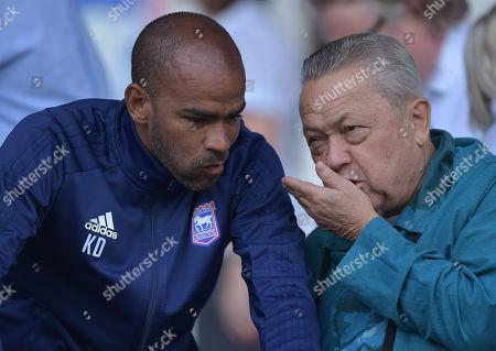 West Ham United Chairman David Sullivan talks to Kieron Dyer of Ipswich Town