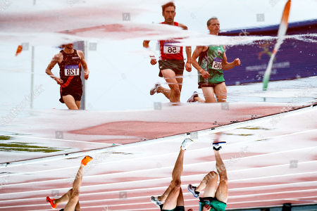 Men's 3000m Steeplechase Final. Clonliffe Harriers A.C's Jayme Rossiter, Ennis Track A.C's Rory Chesser and Derry Track Club's Adam Kirk-Smith