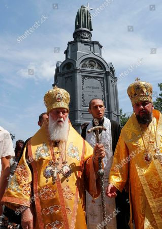 Patriarch Filaret (L), the head of Ukrainian Orthodox Church of the Kyivan Patriarchate, attends a prayer service at St. Vladimirs Hill in Kiev, Ukraine, 28 July 2017. Orthodox believers mark the 1030th anniversary of Kievan Rus Christianization on 27-28 July. Kiev's Prince Vladimir baptized himself in 988 and chose Christianity for his state Kiev Rus.