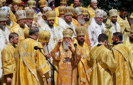 Patriarch Filaret (C), the head of Ukrainian Orthodox Church of the Kyivan Patriarchate, blesses believers during a prayer service at St. Vladimirs Hill in Kiev, Ukraine, 28 July 2017. Orthodox believers mark the 1030th anniversary of Kievan Rus Christianization on 27-28 July. Kiev's Prince Vladimir baptized himself in 988 and chose Christianity for his state Kiev Rus.