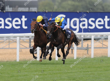 Stock Picture of Ascot Racecourse The King George VI and Queen Elizabeth Stakes. Poet's Word ridden by James Doyle (spotted cap) wins from Crystal Ocean ridden by William Buick.