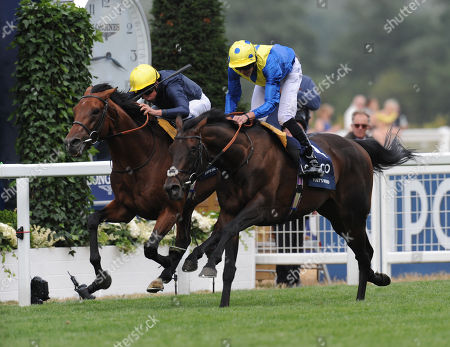 Stock Photo of Ascot Racecourse The King George VI and Queen Elizabeth Stakes. Poet's Word ridden by James Doyle (spotted cap) wins from Crystal Ocean ridden by William Buick.
