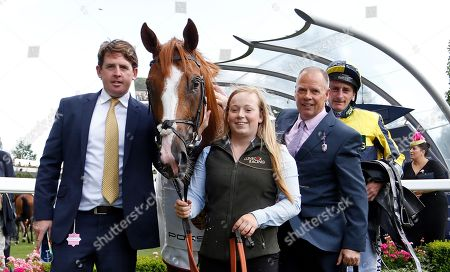 CRACK ON CRACK ON (Adam Kirby) with Jason Maguire and Clive Cox after The Porsche Handicap Ascot
