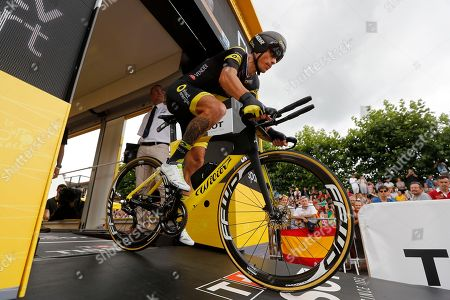 Direct Energie team rider Sylvain Chavanel of France takes the start of the 20th stage of the 105th edition of the Tour de France cycling race, an individual time trial over 31km between Saint-Pee-sur-Nivelle and Espelette, France, 28 July 2018.