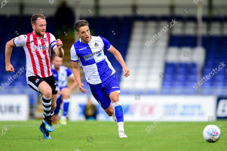 Tom Nichols of Bristol Rovers is marked by  Jake Taylor of Exeter City- Mandatory by-line: Ryan Hiscott/JMP