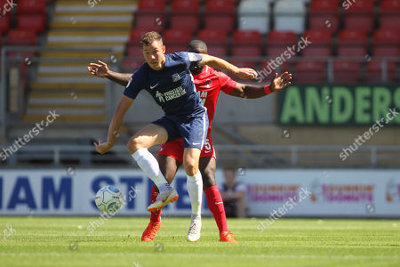 George Elokobi of Orient and Sam Manthom of Southend during Leyton Orient vs Southend United, Friendly Match Football at the Matchroom Stadium on 28th July 2018
