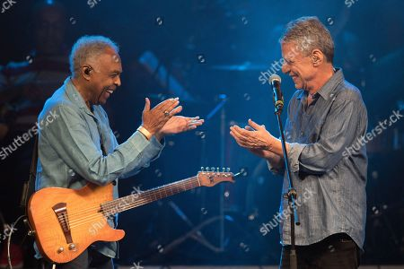 Stock Photo of Gilberto Gil, Chico Buarque. Brazilian singers Gilberto Gil and Chico Buarque, right, perform during the Lula Free festival in Rio de Janeiro, Brazil, . Popular Brazilian musicians and social movements organized the concert to call for the release of Brazil's former president Luiz Inacio Lula da Silva, who has been in prison since April, but continues to lead the preferences on the polls ahead of October's election