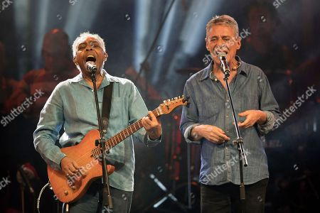Gilberto Gil, Chico Buarque. Brazilian singers Gilberto Gil and Chico Buarque, right, perform during the Lula Free festival in Rio de Janeiro, Brazil, . Popular Brazilian musicians and social movements organized the concert to call for the release of Brazil's former president Luiz Inacio Lula da Silva, who has been in prison since April, but continues to lead the preferences on the polls ahead of October's election