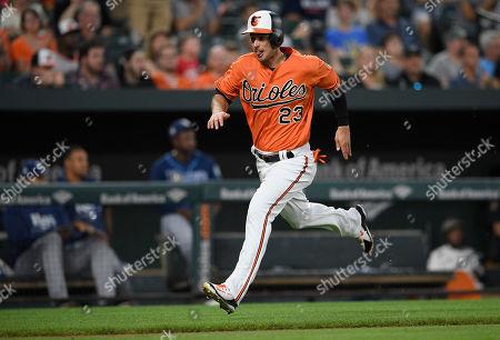 a2b948d66 Baltimore Orioles  Joey Rickard runs to home to score on a single by Caleb  Joseph