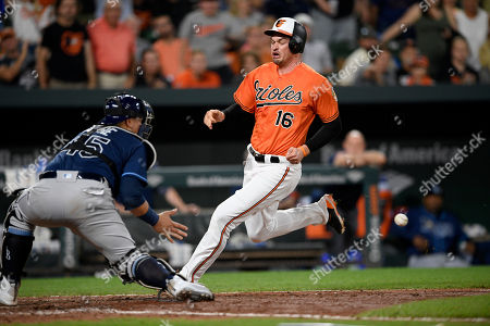 580615749 Baltimore Orioles  Trey Mancini (16) runs home to score against Tampa Bay  Rays
