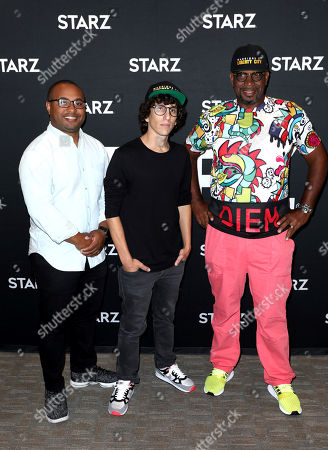 "Jamal Henderson, Evan Rosenfeld, Luther Campbell. Executive Producers Jamal Henderson, from left, Evan Rosenfeld, and Luther ""Uncle Luke"" Campbell attend the STARZ TCA panel for ""Warriors of Liberty City"" at The Beverly Hilton Hotel on in Beverly Hills, Calif"