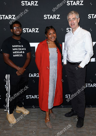 "Charles Donalson, Jada Buford, Steve James. Charles Donalson III, from left, Jada Buford, and Executive Producer and Creator Steve James attend the STARZ TCA panel for ""America to Me"" at The Beverly Hilton Hotel on in Beverly Hills, Calif"