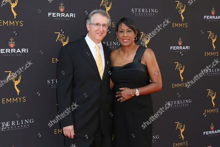 Paul Button, Pat Harvey. Paul Button, left, and Pat Harvey arrive at the 70th Los Angeles Area Emmy Awards, at the Saban Media Center at Television Academy's North Hollywood, Calif. headquarters on