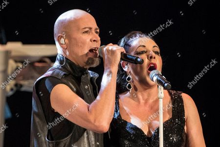 Stock Photo of British synthpop music band 'The Human League' singers Philip Oakey (L) and Joanne Catherall (R) perform on stage during the 'La Mar de Musicas' Festival concert played at the Cartagena's Torres Park in Murcia, southeastern Spain, 28 July 2018.