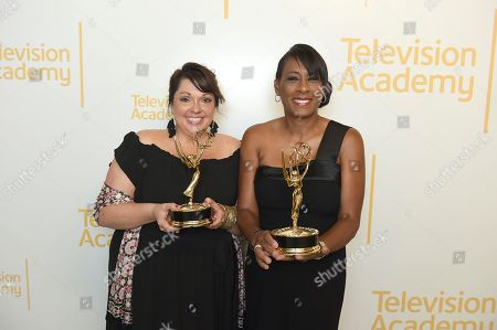 Nicolette Medina, Pat Harvey. Nicolette Medina, left, and Pat Harvey pose with the Emmy for outstanding news feature reporting at the 70th Los Angeles Area Emmy Awards, at the Saban Media Center at Television Academy's North Hollywood, Calif. headquarters on