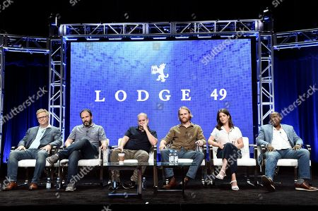 "Peter Ocko, Jim Gavin, Paul Giamatti, Wyatt Russell, Sonya Cassidy, Brent Jennings. Peter Ocko, from left, Jim Gavin, Paul Giamatti, Wyatt Russell, Sonya Cassidy, and Brent Jennings participate in the ""Lodge 49"" panel during the TCA Summer Press Tour, in Beverly Hills, Calif"