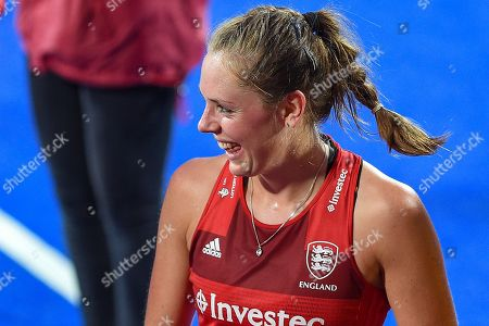 Giselle Ansley of England (18) after scoring a goal (1-0) during the Vitality Hockey Women's World Cup 2018 Pool B match between England and Ireland at the Lee Valley Hockey and Tennis Centre, QE Olympic Park. Picture by Martin Cole