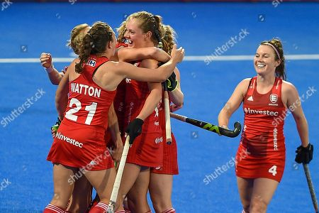 Giselle Ansley of England (18) scores a goal (1-0) and celebrates with team mates during the Vitality Hockey Women's World Cup 2018 Pool B match between England and Ireland at the Lee Valley Hockey and Tennis Centre, QE Olympic Park. Picture by Martin Cole