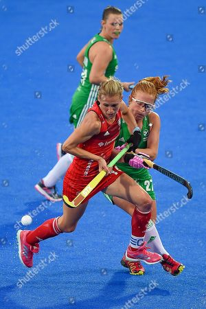 captain Alex Danson of England (15) and  Zoe Wilson of Ireland (27) during the Vitality Hockey Women's World Cup 2018 Pool B match between England and Ireland at the Lee Valley Hockey and Tennis Centre, QE Olympic Park. Picture by Martin Cole