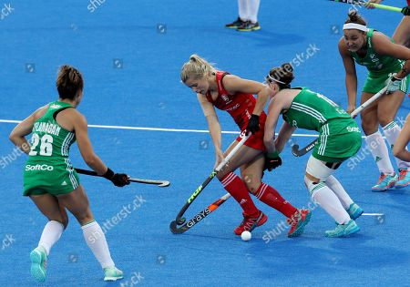 England's Sophie Bray (C) during the women's Field Hockey World Cup match between England and Ireland at the Lee Valley Hockey Centre, Queen Elizabeth Olympic Park in  London, Britain, 29th July 2018.