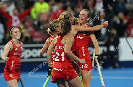 England's Giselle Ansley celebrates scoring (R) during the women's Field Hockey World Cup match between England and Ireland at the Lee Valley Hockey Centre, Queen Elizabeth Olympic Park in  London, Britain, 29th July 2018.