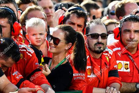Motorsports: FIA Formula One World Championship 2018, Grand Prix of Hungary,  Minttu Virtanen, wife of Kimi Raikkonen (FIN, Scuderia Ferrari), and her son Robin