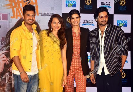 (from left to right) Indian Punjabi film actor Jassi Gill with actress Sonakshi Sinha, Diana Penty and Ali Fazal