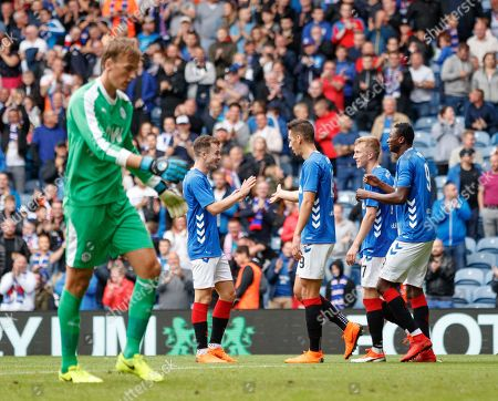 Umar Sadiq of Rangers celebrates Rangers 3rd goal. Sadiq tried to make contact with a miss-hit clearance by Alex Bruce of Wigan that resulted in an own-goal.
