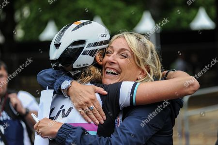 BBC Breakfast presenter and GB Team Triathlete, Louise Minchin is hugged by Scottish TV Presenter Jill Douglas after completing the London - Surrey 100