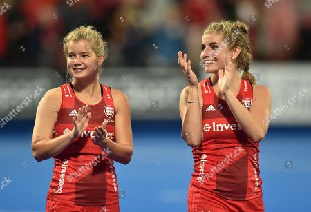 Sophie Bray of England and Sarah Haycroft of England applaud the fans