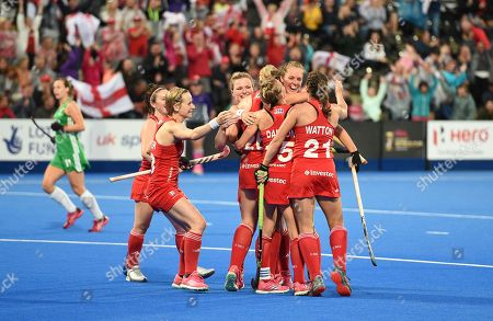 Stock Picture of Giselle Ansley of England  celebrates her goal with team-mates, 1-0