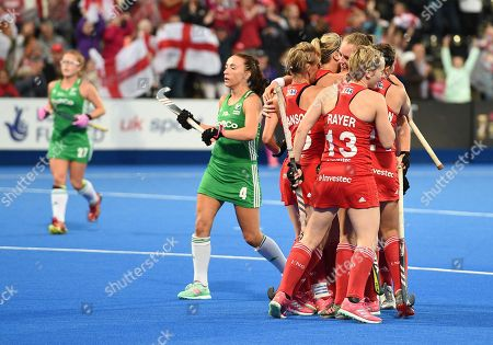 Giselle Ansley of England  celebrates her goal with team-mates, 1-0