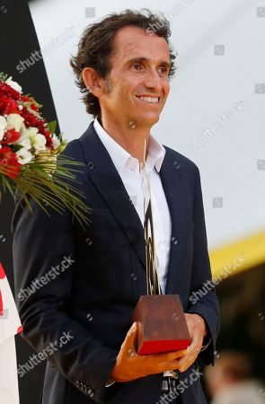Alexandre Bompard, Chairman and Chief Executive Officer of French retailer giant Carrefour attends the podium ceremony after the 21st and last stage of the Tour de France, in Paris
