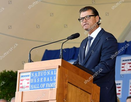 National Baseball Hall of Fame inductee Trevor Hoffman speaks during an induction ceremony at the Clark Sports Center, in Cooperstown, N.Y