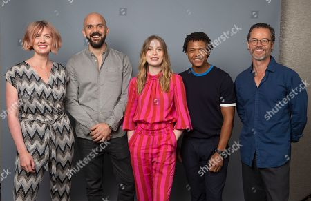 "Hania Elkington, Simon Duric, Sorcha Groundsell, Percelle Ascott, Guy Pearce. Writer Hania Elkington, from left, writer Simon Duric and cast members of the Netflix series ""The Innocents,"" Sorcha Groundsell, Percelle Ascott and Guy Pearce pose for a photo during the Netflix portrait session at Television Critics Association Summer Press Tour at The Beverly Hilton hotel, in Beverly Hills, Calif"