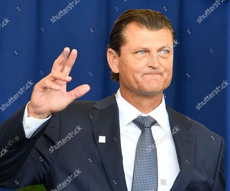 National Baseball Hall of Fame inductee Trevor Hoffman, Is introduced during an induction ceremony at the Clark Sports Center, in Cooperstown, N.Y