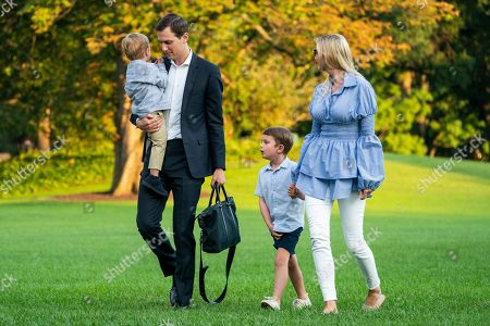 Jared Kushner (C-L) and Ivanka Trump (R) walk with their children Theodore (L) and Joseph (C-R) across the South Lawn as they return from a weekend stay in Bedminster, New Jersey at the White House in Washington, DC, USA, 29 July 2018. Earlier in the day, the US President Donald J. Trump once again went after the media on Twitter, calling them the 'enemy of the people.'