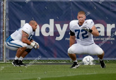 Indianapolis Colts offensive guards Braden Smith (72) and Matt Slauson (68) warm up during practice at the NFL team's football training camp in Westfield, Ind