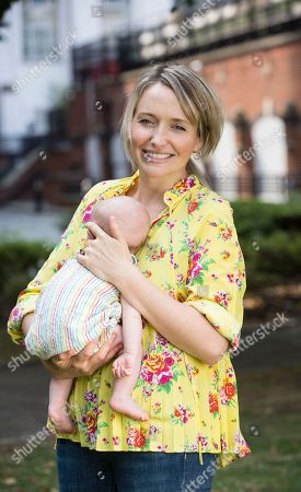Kate Quilton with her 12-week-old son