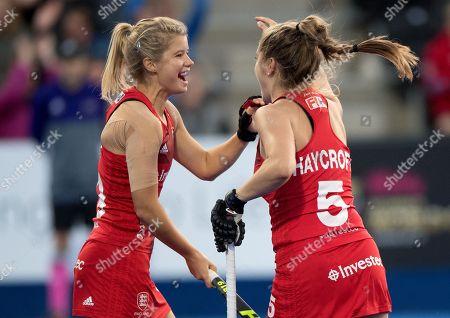Stock Image of Sophie Bray and Sarah Haycroft celebrate