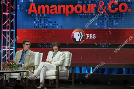 "Stephen Segaller, Christiane Amanpour. Stephen Segaller, left, and Christiane Amanpour participate in the ""Christiane and Company"" panel during the TCA Summer Press Tour, in Beverly Hills, Calif"