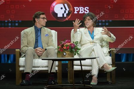 "Stock Picture of Stephen Segaller, Christiane Amanpour. Stephen Segaller, left, and Christiane Amanpour participate in the ""Christiane and Company"" panel during the TCA Summer Press Tour, in Beverly Hills, Calif"