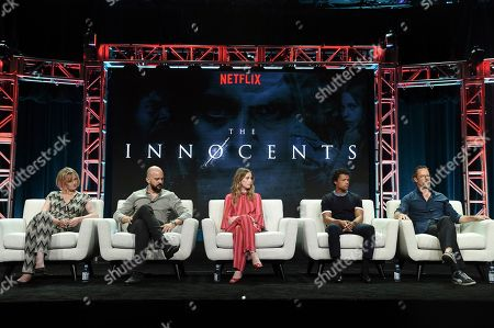 "Hania Elkington, Simon Duric, Sorcha Groundsell, Percelle Ascott and Guy Pearce. Hania Elkington, from left, Simon Duric, Sorcha Groundsell, Percelle Ascott and Guy Pearce participate in ""The Innocents"" panel during the TCA Summer Press Tour, in Beverly Hills, Calif"