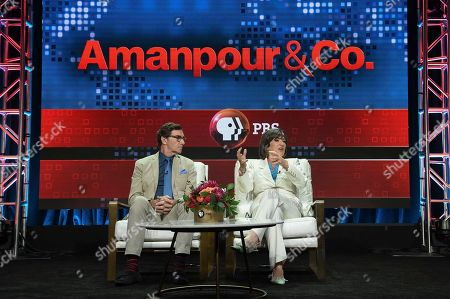"Stephen Segaller, Christiane Amanpour. Stephen Segaller, left, and Christiane Amanpour participate in the ""Amanpour and Co."" panel during the TCA Summer Press Tour, in Beverly Hills, Calif"