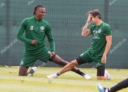 Stock Image of Dedryck Boyata  with Cristian Gamboa (right)  training with Celtic