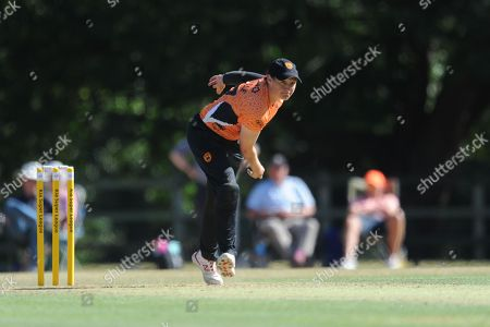 Stock Image of Arran Brindle of Southern Vipers bowling during the Women's Cricket Super League match between Southern Vipers and Western Storm at Arundel Castle, Arundel. Picture by Dave Vokes