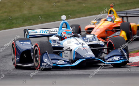 Ed Jones competes in the IndyCar Series auto race, at Mid-Ohio Sports Car Course in Lexington, Ohio